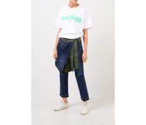 Jeans mit Rockdetail Blau/Khaki