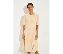 Kurzarm Kleid mit Karomuster Orange/Beige