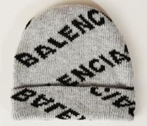 Wollmütze mit Logo-Schriftzug Grau/Schwarz