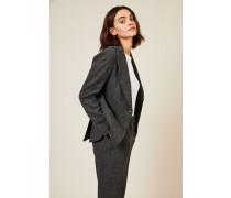 Woll-Cashmere-Blazer mit Fischgrätmuster Grau - Cashmere