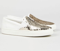 Sneaker 'Carter Slip-On' Weiß/Gold - Leder