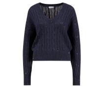 Baumwoll-Seiden-Pullover mit Paillettenverzierung Dunkelblau
