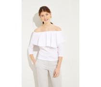 Baumwoll-Shirt mit Volant Weiß- Oberteil in Weiß - Elastischer Kragen - Carmenausschnitt - Volant am Kragen - Kurze Ärmel - Schmale Silhouette - Auf Hüfthöhe endend Größe des Models: 179 cm Material 1: -