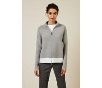 Woll-Seiden-Cardigan mit Reißverschlussdetails Grau/Weiß - Cashmere