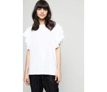 T-Shirt mit Rüschen Weiß - 100% Baumwolle
