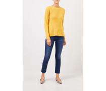 Cashmere-Pullover mit Strickdetail Gelb