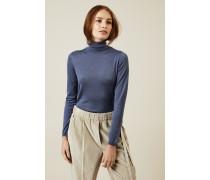 Leichter Rollkragen-Pullover mit Glitzerfäden Denimblau
