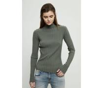 Gerippter Turtle-Neck Pullover Khaki - Cashmere