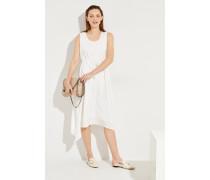 Seidenkleid mit asymmetrischem Saum Weiß