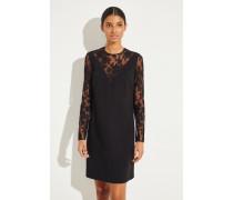 Kleid mit Lace-Details Schwarz
