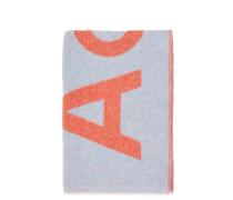 Woll-Schal 'Toronty' mit Logoprint Hellblau/Orange