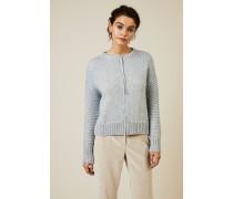 Woll-Cardigan mit Glitzerfaden-Detail Blau - Leder