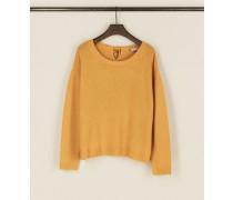 Cashmere-Pullover 'Chrispin' mit Bindedetail Senfgelb - Cashmere