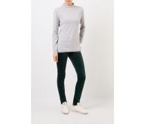 Woll-Seiden-Pullover mit Perlenverzierung Grau