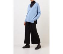 Woll-Cashmere-Pullover mit Detail Hellblau