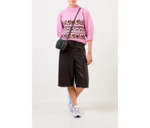 Handstrick Woll-Alpaca-Pullover mit Muster Pink/Multi