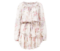 Seiden-Kleid 'Popover' mit floralem Muster Beige/Multi