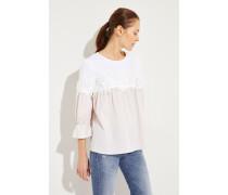 Gestreifte Bluse mit Spitzendetails Beige/Weiß