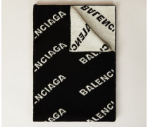 Wollschal mit Logo-Aufdruck Schwarz/Weiß
