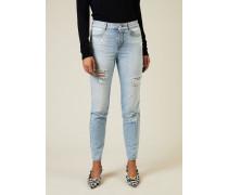 Destroyed High-Waist-Jeans Blau - 100% Baumwolle