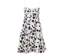 Kurzes Kleid mit floraler Stickerei Crème/Marineblau