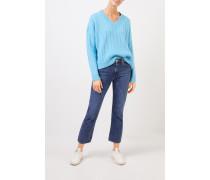 V-Neck Cashmere-Pullover mit Zopfmuster Hellblau