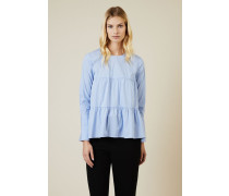 Gestreifte Baumwoll-Bluse Hellblau - 100% Baumwolle