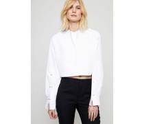 Gecroppte Bluse mit Goldelementen Weiß - 100% Baumwolle