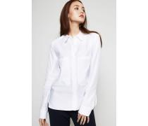 Bluse mit Statement-Taschen Weiß - Seide