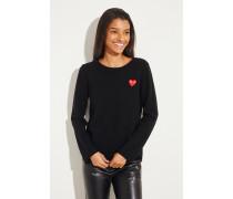 Woll-Pullover mit Herz-Emblem Schwarz