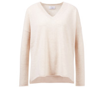 V-Neck Cashmere-Pullover mit Schlitzen Beige