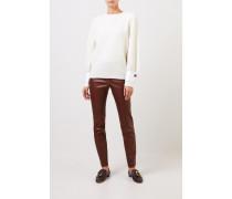 Cashmere-Pullover mit Manschettendetails Crème