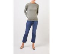 Cashmere-Pullover mit Rippstrickkragen Salbei