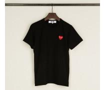T-Shirt mit Herz-Emblem Schwarz - 100% Baumwolle
