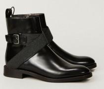 Leder-Boots mit Schmuckschließe - Leder