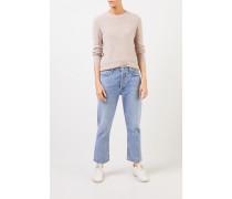 Cashmere-Pullover mit Mesh-Strick Beige