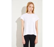 Baumwoll-Shirt mit Plissee-Detail Weiß- T-Shirt in Weiß - Rundhalsuasschnitt - Rückseitig kleiner Kragen - Aufgesetzte Brusttasche - Kurze Ärmel - Plissierte Rückseite mit schwarzem Print - Auf Gesäßhöhe endend Größe des Models: 179cm Material 1: -