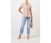 Kurzarm Tweed-Blazer mit Knopfdetails Rosé/Multi