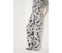 Weite Hose 'Erica Stretch' mit Print Schwarz/Weiß