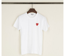 T-Shirt mit Herz-Emblem Weiß - 100% Baumwolle