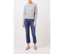 Rippstrick-Cashmere-Pullover Grau