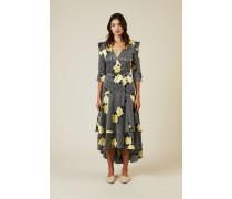 Wickel-Seidenkleid mit Blumenprint Multi