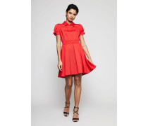 Kurzes Kleid mit Blusenkragen Rot - Seide