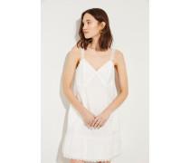 Baumwoll-Kleid mit Stickerei Weiß- Kleid in Weiß - Kleiner V-Ausschnitt - Ärmellos - Verzierte Träger - Seitlicher Reißverschluss - Schmale Silhouette - Tonales Unterkleid - Florale Stickerei - Auf Oberschenkelhöhe endend Größe des Models: 178cm Material 1: -