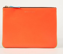 Leder-Clutch zweifarbig Fluo Orange/Grün - Leder
