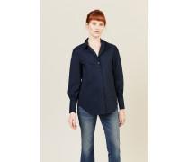Klassische Bluse mit Raffung-Detail Marineblau