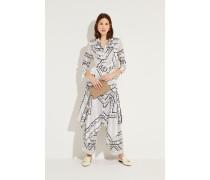 Seiden-Hemdblusenkleid 'Blakely' mit Print Weiß