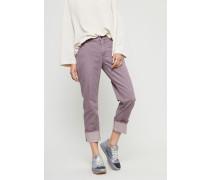 Jeans mit gekrempeltem Saum Violett