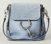 Rucksack 'Faye Backpack' mit Veloursleder-Detail Washed Blue - Leder