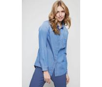 Baumwoll-Cashmere Bluse mit Perlenverzierung Blau